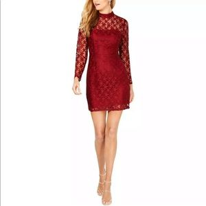 Betsey Johnson Womens Red Lace Deep Star Print